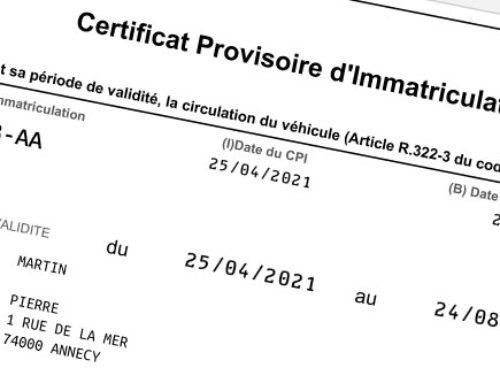 Le certificat provisoire d'immatriculation «WW»