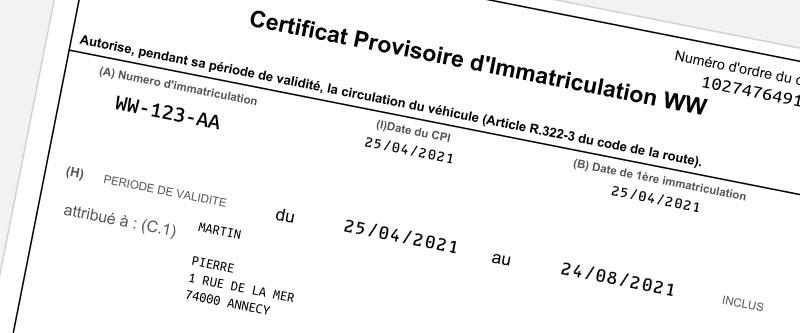 Certificat Provisoire d'Immatriculation - CPI